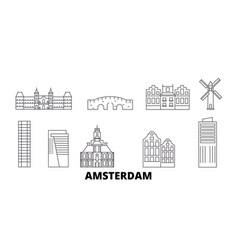 netherlands amsterdam city line travel skyline vector image