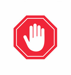 No entry sign stop hand gesture in red octagon vector