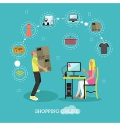 Online shopping concept flat vector