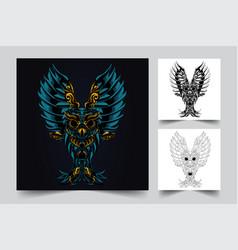 owl ornament artwork vector image