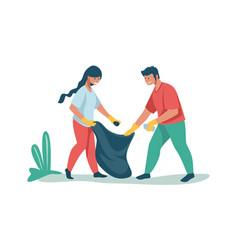 People sorting and recycling waste volunteers vector