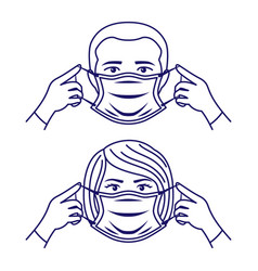 People wearing a protective mask vector