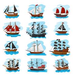 piratic ship pirating boat vessel sailboat vector image