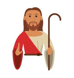 portrait jesus christ holding stick vector image