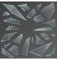 Realistic shards of broken glass with transparency vector image