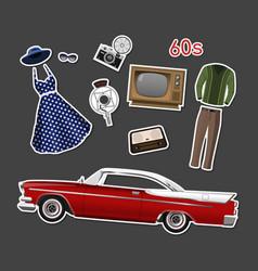 retro stikers set vintage objects vector image
