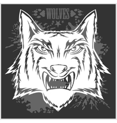 Retro wolf mascot athletic design complete with vector image