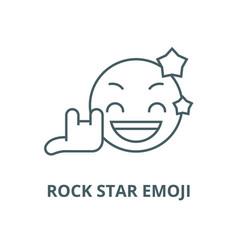 rock star emoji line icon linear concept vector image