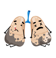 Sad sick lungs cartoon character vector