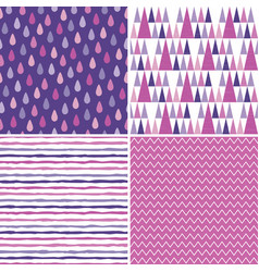 Seamless hipster background patterns purple vector