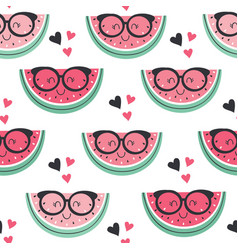 seamless pattern with funny watermelon vector image