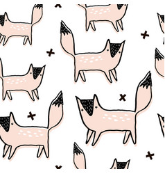 seamless pattern with hand drawn foxes creative vector image