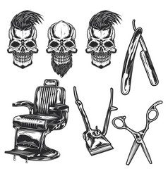 set barber equipment and skulls vector image
