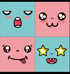 set kawaii cute faces expression vector image