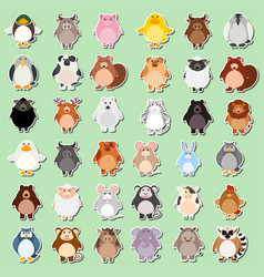 set of animal cartoon sticker vector image