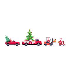 set santa claus driving red pickup car forklift vector image