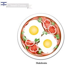 Shakshouka or Israeli Eggs Poached with Tomatoes vector