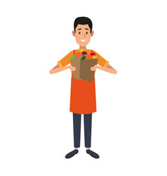 Shopkeeper with groceries bag vector