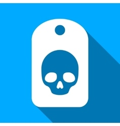 Skull Label Flat Long Shadow Square Icon vector