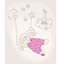 sleeping baby bear cute card vector image
