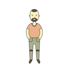 smiling standing man character cartoon flat vector image