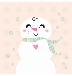 Snowman girl isolated on dotted background vector image