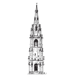 Spire highest level vintage engraving vector