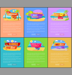 summer discount for trips abroad web pages set vector image