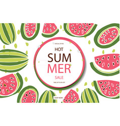 summer sale in watermelon background vector image