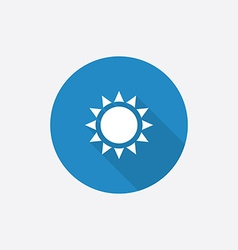 sun Flat Blue Simple Icon with long shadow vector image