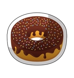 Sweet donut delicious isolated icon vector