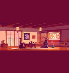 Tea ceremony in asian restaurant women in kimono vector