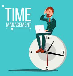 Time management man huge clock watch vector