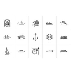 transport vehicles hand drawn outline doodle icon vector image