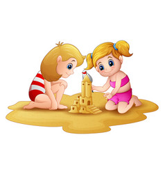 two little girl making sandcastle at beach vector image