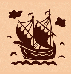 vintage sailboat floating on waves ship in sea vector image