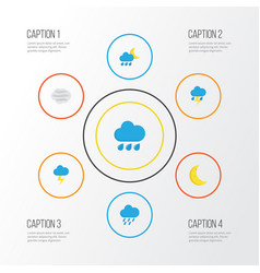 Weather flat icons set collection of windy vector