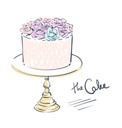 Wedding celebration attribute cake decorated vector