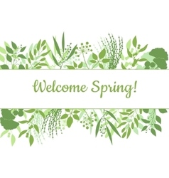 Welcome spring green card design text in floral vector