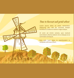 Wheat field and mill vector