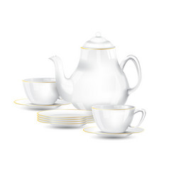 white with gold line tea or coffee set on white vector image