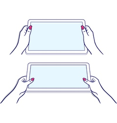Woman hands keeps tablet vector image