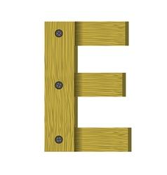 Wood letter E vector