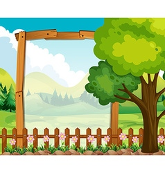 Wooden frame with nature background vector image