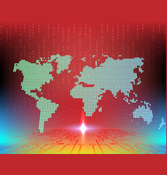 World cyber attack by hacker concept background vector