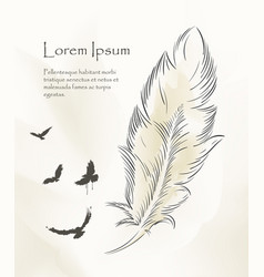 writing feather paint with flying birds vector image