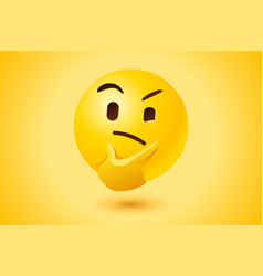 yellow thinking face icon vector image