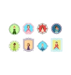 Cartoon princess set with frames vector image vector image