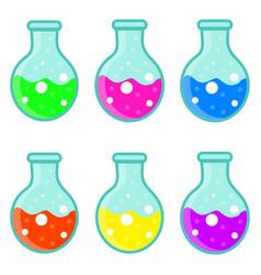 laboratory bulb set icon flat cartoon style vector image
