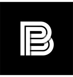 Letter B wide white stripes Logo monogram emblem vector image vector image